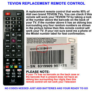TEVION TV REMOTE CONTROL A REPLACEMENT WORKS 90% OF TEVION LCD/LED TVs