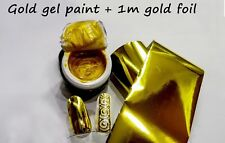 Gold Gel paint Farbgel 5 ml and 1m Gold Foil for Nail Art like Emi