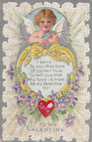 Lacy Cupid~Yellow Bow~& Flowers Antique Embossed Valentine's Day Postcard-p-447