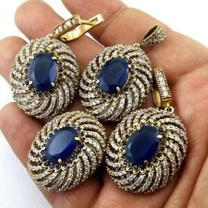 Amazing Turkish Sapphire Ethnic Jewelry Earring-Pendant-Ring Set ER-1007