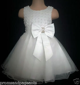 White Christening Flower Girl Bridesmaid Pageant Bling Party Dress 0-24m + 2-13y