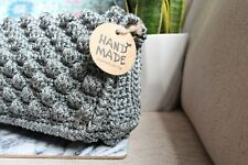 grey handmade bubble purse crochet bag, handbag, boho chic, fashion