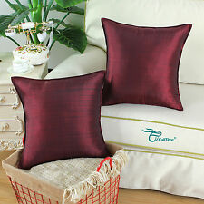 "2Pcs Cushion Covers Pillows Shell Home Decor Striped Dyed Burgundy  18"" x 18"""