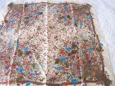 """Vintage silk SCARF Robins Nest Pájaros y Flores Bordes Rodado 30"""""""