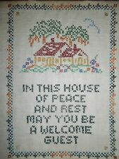 """Vtg Finished Cross Stitch Sampler On Linen """"In This House Of Peace"""" 12"""" x 10"""""""