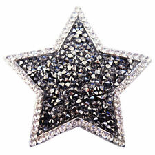 Magnet Brosche Schal Poncho Tasche Strass Steine Anstecker Stern Silber Antrazit