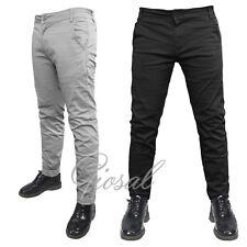 Pantalone Uomo Modello Tasca America Chino Slim Fit Cotone Elastico Colori Vari