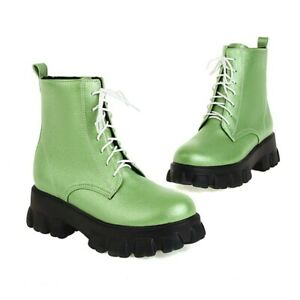 Women's Round Toe Non-slip Creeper Heel Lace Ups Motorcycle Ankle Boots 35-43 D