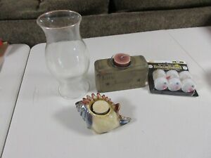 Lot of 4, Candle Related Items, Conch Shell Votive Holder, Chimney & More