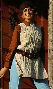 Knitting Pattern Lady's Vintage Cable/Aran Tunic/Tabbard/Sleeveless Jumper.