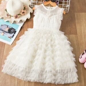 Girls Clothes Lace Ruffle Sleeve Design Girls Dress Birthday Party Dress