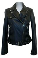 ZARA GENUINE LEATHER BLACK BIKER JACKET, M