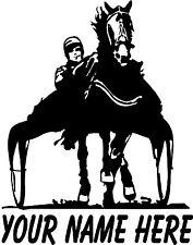 "Harness Racing Race Horse Trotter Custom White Vinyl Sticker Decal 9.5"" x 7.5"""