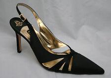 Gina black satin pointed toe slingbacks, UK 7/EU 40, BNWB, RRP £315!  3186