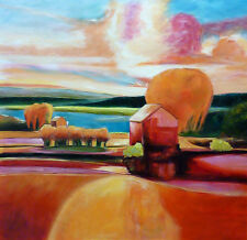 ORIGINAL Oil Painting - LAKESIDE VIEW by Roberto Orlan - LARGE 116x118cm