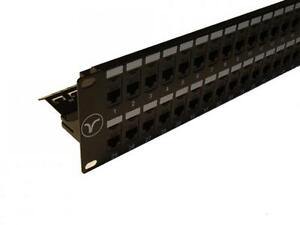 Patch Panel 48 Port 2U Cat6 UTP Through Coupler Panel + Labelling System and Bar