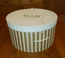 Vintage Harold Minneapolis Hatbox Gold Stripes 12 x 7 Rope Handle Rare