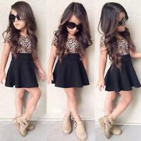 Kids Baby Girl Leopard Short Sleeve Dress A-Line O-Neck Party Dress Outfit Cloth