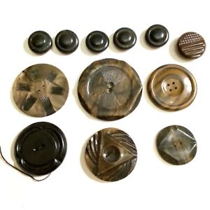 "Lot of various dark color celluloid buttons tight top wafer 2"" large"