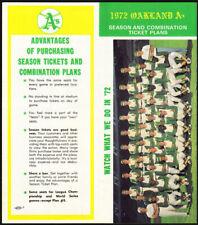 Oakland Athletics *Rare* 1972 Ticket Order/Schedule Vtg World Champion program
