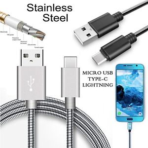 STAINLESS STEEL SPRING FAST CHARGING CORD SYNC DATA CABLE FOR MOBILE PHONES
