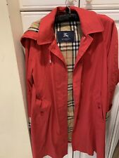 BURBERRY LONDON RED COAT TRENCH WOMEN DETACHABLE HOODIE SZ 4