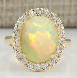 4.95 Carat Natural Opal 14K Solid Yellow Gold Luxury Diamond Ring