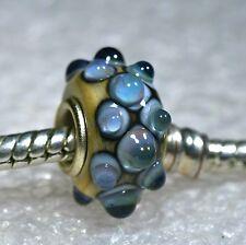 "Single Core European Murano Style Glass Bead-""Peacock Blue"""