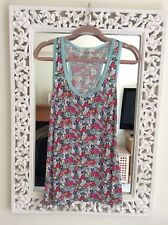 Oasis Mint Green Trim Pink Floral Vest Top, Size UK 12 L Immaculate