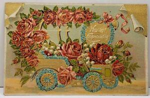 Heartiest Congratulations Roses Gilded Car c1910 Farmersville Pa Postcard A1