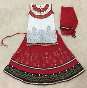 Aarong 3 PC Red White Gold Printed& Embroidered Pure Cotton Lehenga Choli 18mont