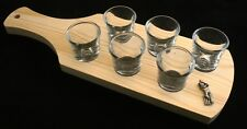 Cricketer Set of 6 Shot Glasses with Wooden Paddle Tray Holder 89