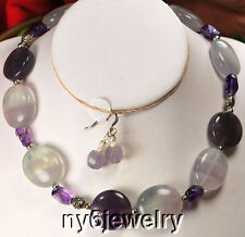 Necklace and Earring Set Ny6Design Natural Fluorite &Amethyst Silver