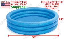 Intex blue pool crystal 58X13inch summer float tube swim kid fun ! See Video !