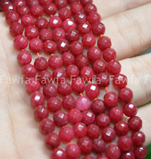 "Natural 6/8/10mm Faceted Ruby Round beads Gemstone Loose Beads 15"" Strand"