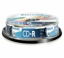 10 x Philips CD-R Blank Recordaeble Discs 80 Mins 700mb 52x Speed Spindle Pack