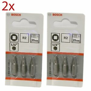 """2 Packs of Bosch 2608521109 25mm R2 1/4"""" Bits Square Drive (3 in each pack!)"""