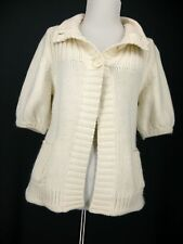 Express Sweater S Womens Ivory Cardigan Baby Doll Cotton Wool Angora Blend