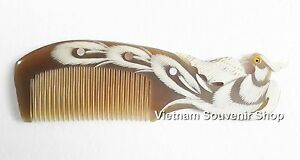 Hand carved Sculpture Horn Hair Comb - Carving Phoenix Bird - Handmade gift #2