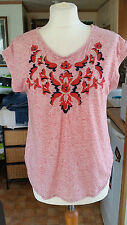 Looks New Ladies Pink Floral Patterned Tshirt Top Sz 12 M by Papaya