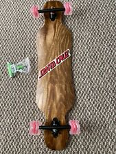 "Longboard Drop Through 38"" X9.25"" Dark Walnut Top Shark Wheels OG Santa Cruz Dec"
