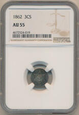 1862 3 Cent Silver. NGC AU55