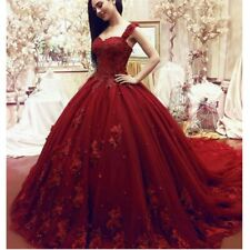 Red Lace Applique Ball Gown Wedding Dresses Sweetheart Wide Strap Long Train