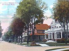 Vintage Postcard. West on West Webster Street Muskegon Michigan.