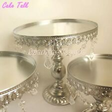 Set  Of 3 Metal  Silver  Cake Stand With Pendent Charm. 8,10 &12  Inches Wedding
