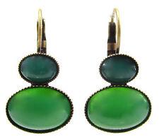 SoHo® Ohrhänger bohemia glas 1960s green moonshine oval cabochon grün mondstein
