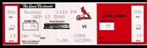 Ticket Baseball St. Louis Cardinals 1999 9.29 Padres Mark McGwire HR #62 Maris x