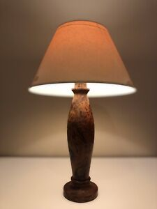 Beautifully Hand Turned Large Vintage Table Lamp Solid Thuya Burr Wood