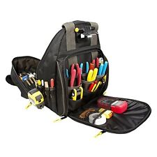 Backpack Tool Bag Lighted Carrier 53 Pocket Organizer For Electricians HVAC Tech