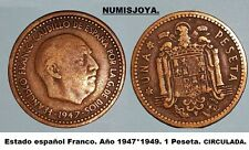 ESTADO ESPAÑOL FRANCO. ESCASA moneda de 1 Peseta año 1947*1949. CIRCULADA.